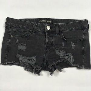 Express Black Distressed Cutoff Shorts Womens 4